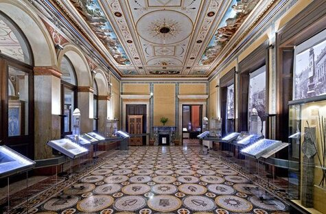 Spectacular exhibition room at the Numismatic Museum of Athens.