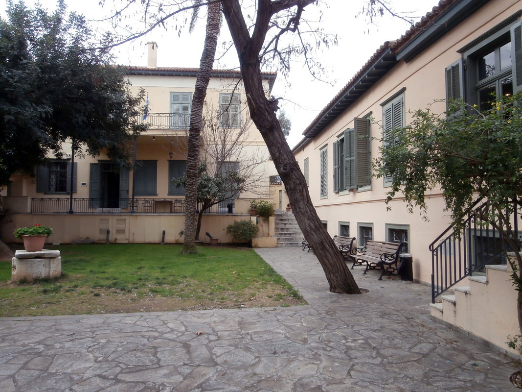 The courtyard of the Museum of Greek Popular Musical Instruments.