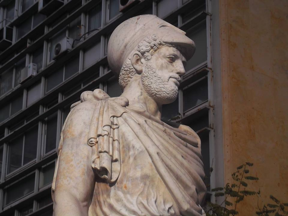 Head from the statue to the statesman Pericles, by German sculptor Heinrich Faltermeier, in marble, located by the Town Hall on Kotzia Square. Photo courtesy John Vellis.