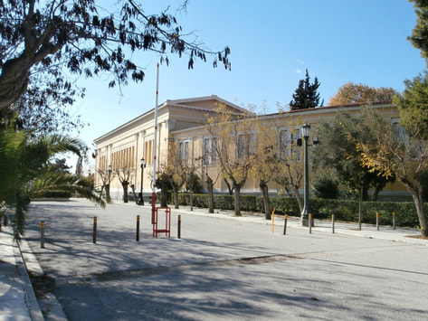 Side view of the Zappeion Megaron on a sunny day of Winter.