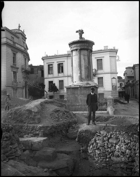 A 1915 photograph of the site during the archaeological excavations of the Choragic Monument of Lysicrates.