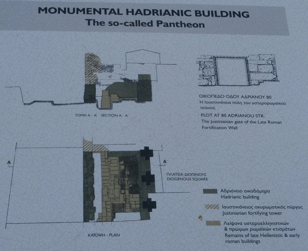 The plan of the excavated part of the Pantheon building on Adrianou Street, Plaka.