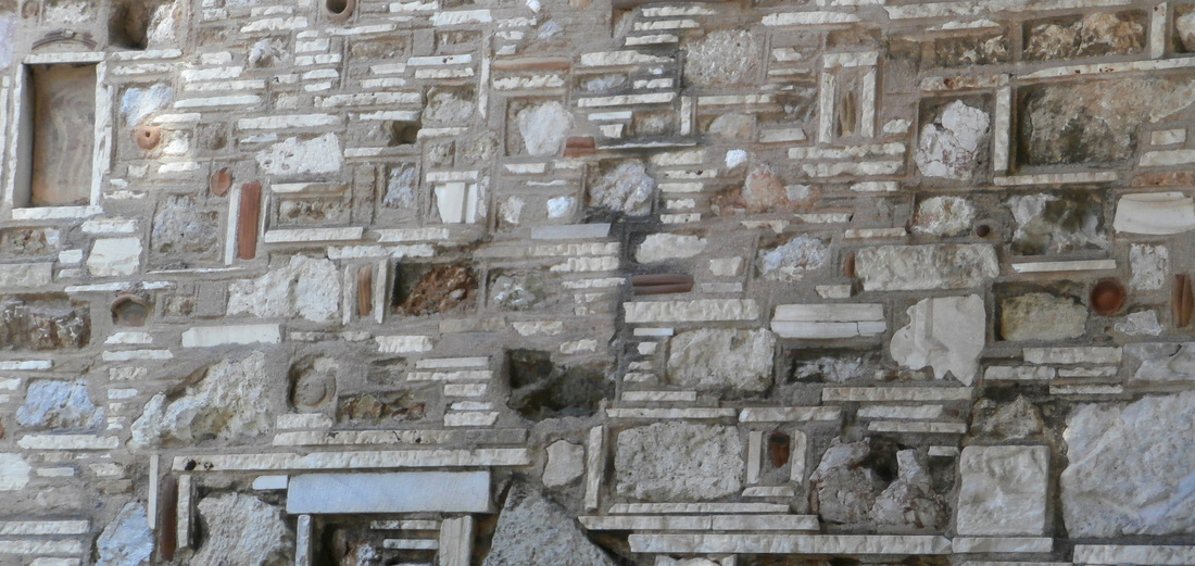 Detail from the stone wall of the church of Aghios Demetrios Loumbardiaris, designed by architect  Demetris Pikionis.