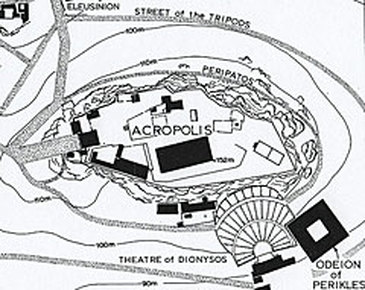 Rough outline of the Acropolis Peripatos.