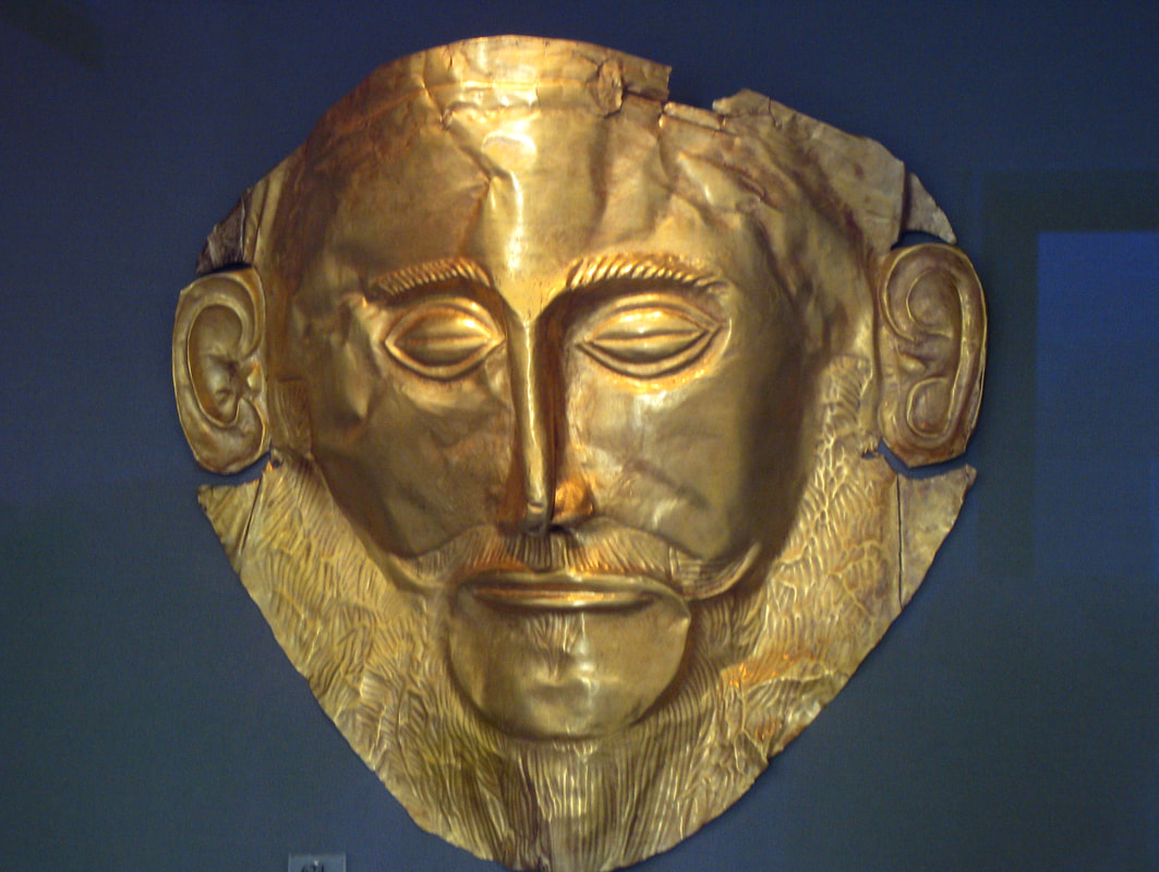 "The golden mask of ""Agamemnon"",  in the Archaeological Museum of Athens."