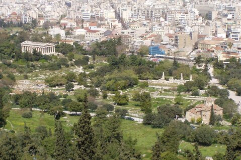 A view of the site of the ancient Agora of Athens. At the upper left, the church of Holy Trinity, mid left the Temple of Hephaestos, on the upper right, barely visible, the church of Agios Philippos and lower right the church of the Holy Apostles.