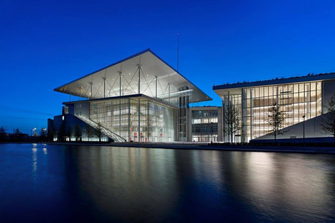 The new building of the Greek National Library at the Stavros Niarchos Foundation Cultural Center.r.