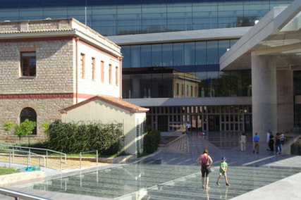 The entrance to the Acropolis Museum.