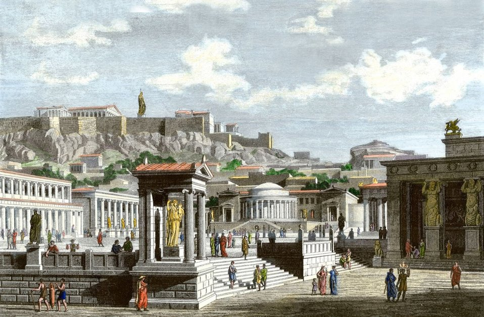 An imaginary depiction of the Agora of ancient Athens at the time of Pericles.