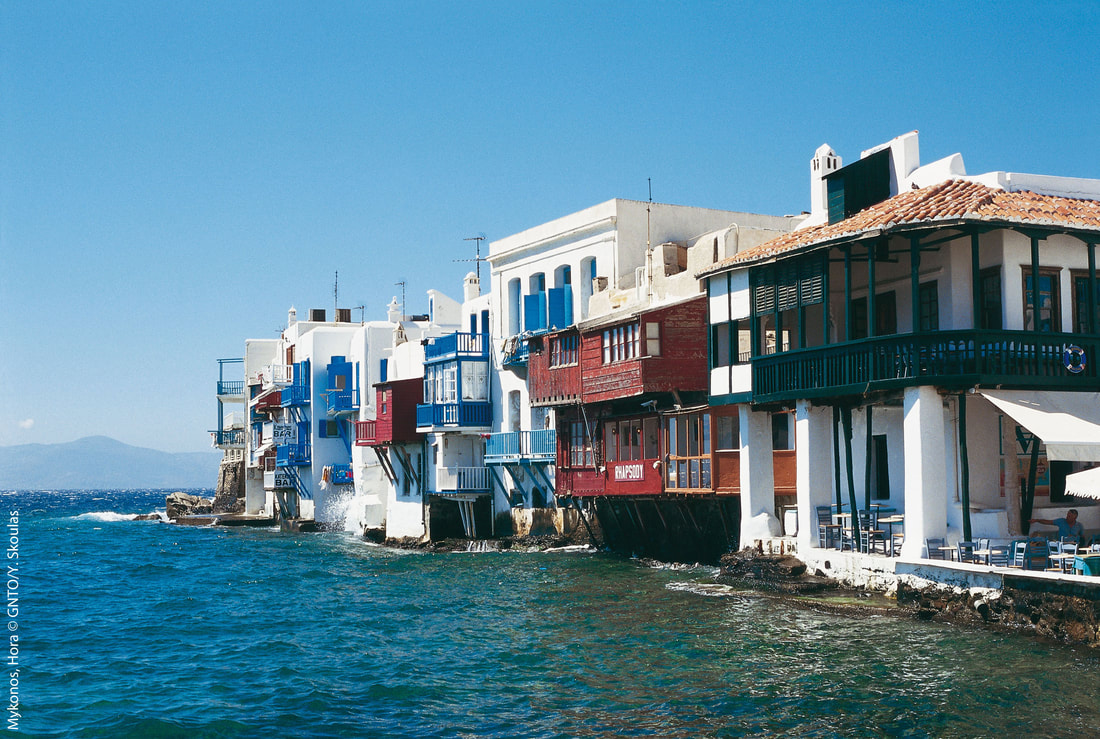 Mykonos. Hora. Little Venice. Photo by Y. Skoulas, courtesy of the Greek National Tourism Organization.