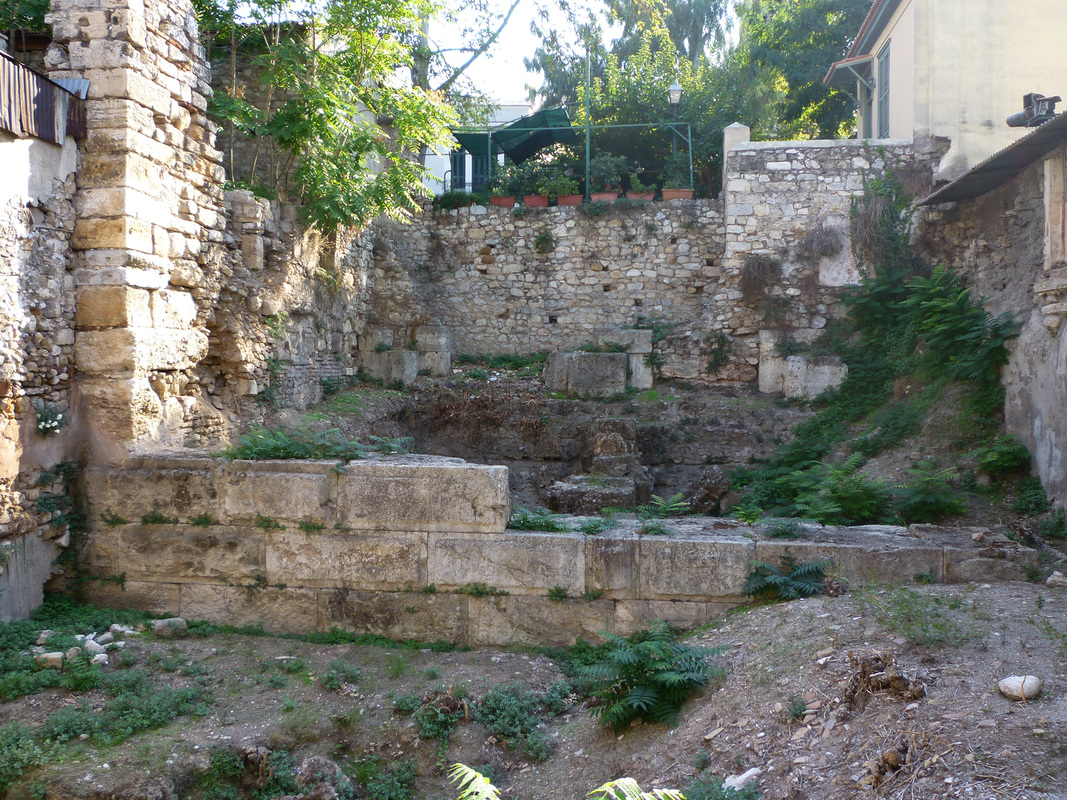 The ruins of the Pantheon building on Adrianou Street, Plaka.