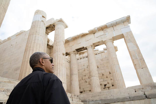 Former US President Obama takes a tour of the Acropolis in 2016 (Official White House Photo by Pete Souza).
