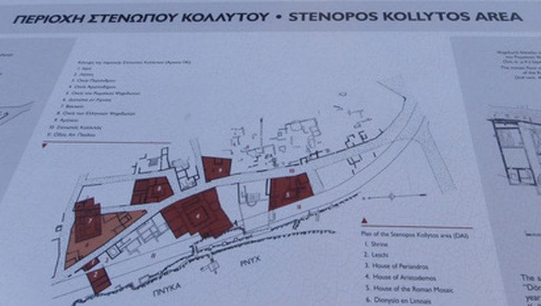 Map and Legend of the area of Stenopos Kollytos, between Pnyx and the Acropolis.