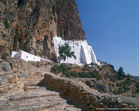 The monastery of Panagia Hozoviotissa, Amorgos. Photo courtesy of GNTO by N. Kontos.