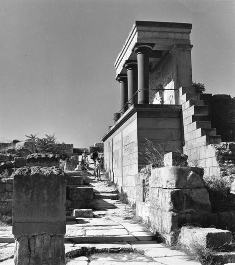 The ruins of the Minoan Palace of Knossos. Photo by Nicos Kontos, '60s, courtesy Greek National Tourist Organization.