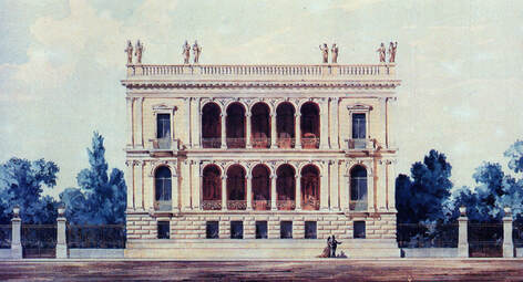 Watercolor of Iliou Melathron, the residence of Schliemann, now housing the Numismatic Museum.