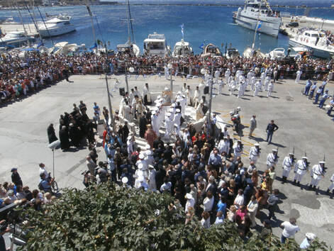 Festivities on August 15th, day when the Dormition of the Virgin Mary is celebrated in Tinos.