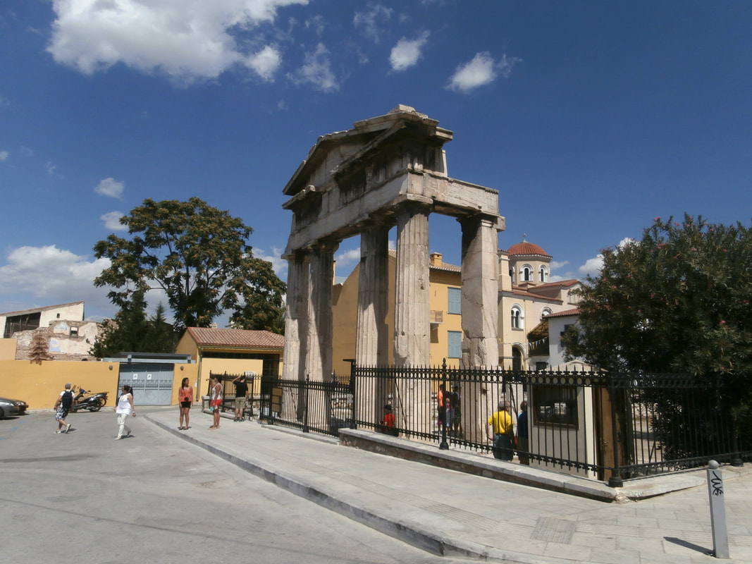 The Gate of Athena Archegetis, entrance to the Roman Agora of Athens.