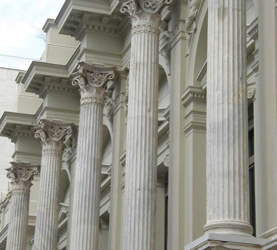 Detail of the colonnade of the Ziller Building, Greek National Theatre, Athens.